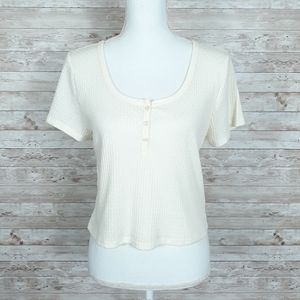 Wild Fable Cropped Top XL Tee Tshirt Ivory 154